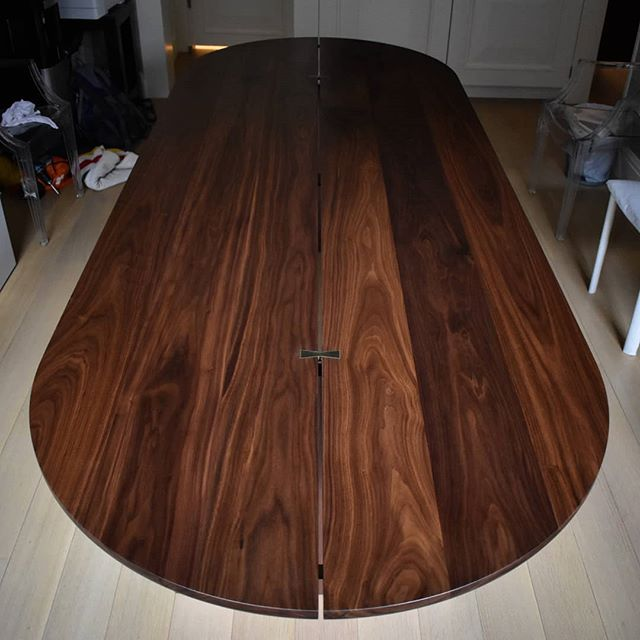 Large custom dining table in solid walnut for @jaejoo_  A small elevator lead to a creative split top design so that it could be hand carried up the stairs! Fab with @ilk.ny  #customfurniture #customhardware #furnituredesign #finefurniture #diningtable #customtable #customdiningtable #woodworking #walnut #walnuttable #madeinnewyork #madeinbrooklyn