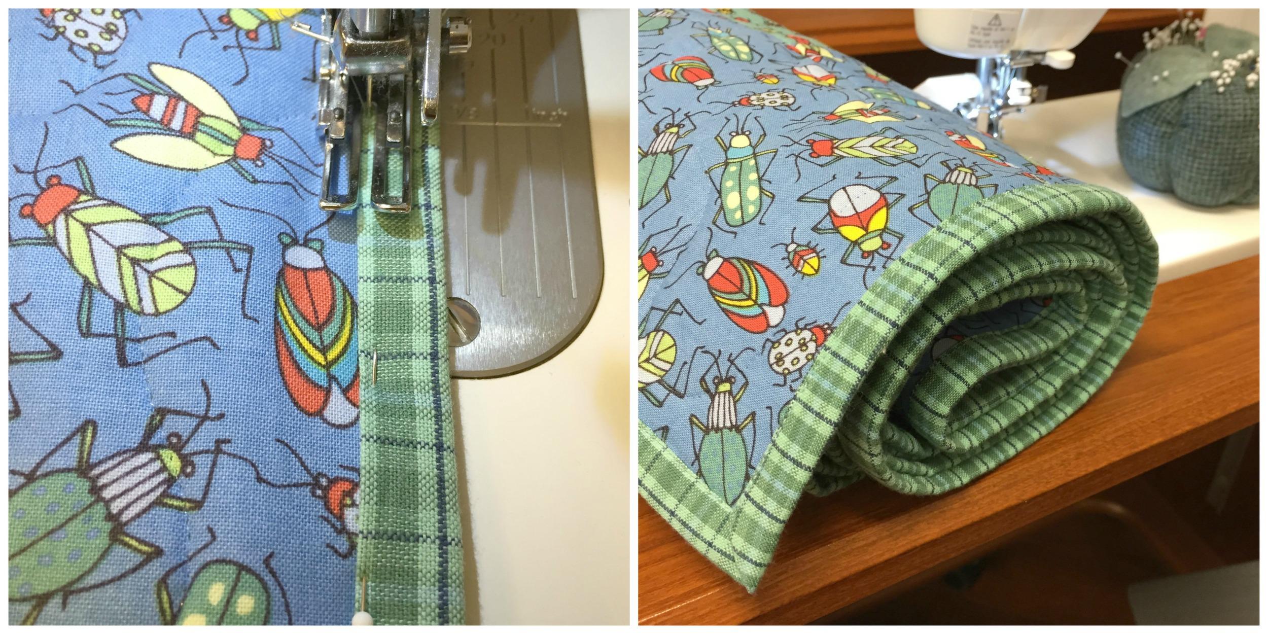 Machine stitching quilt binding.