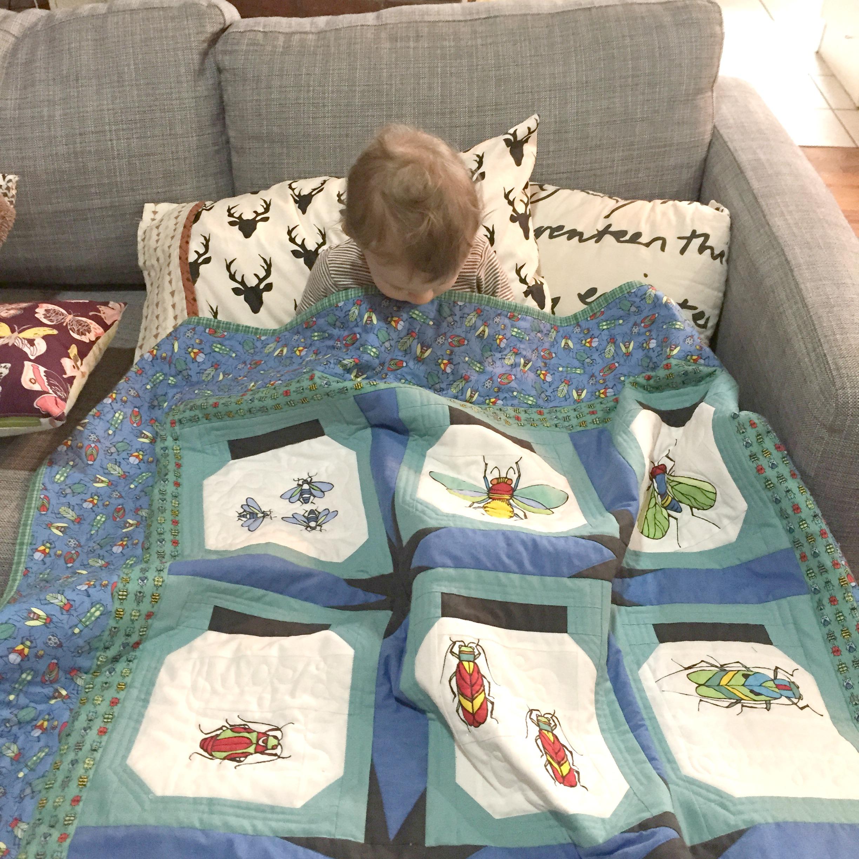 Bear loves his quilt.