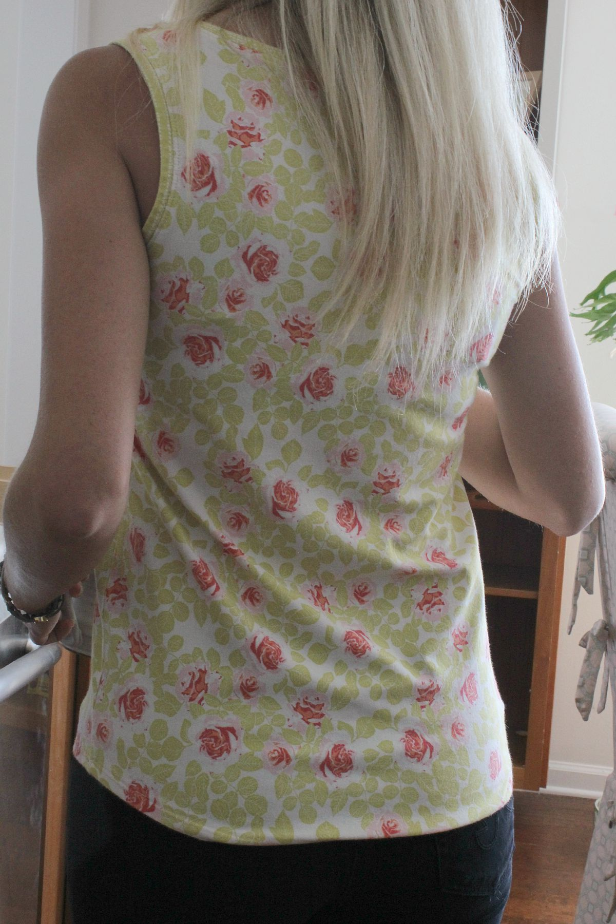 Back view, Pruning Roses Citrus by Bonnie Christine for Art Gallery Fabrics