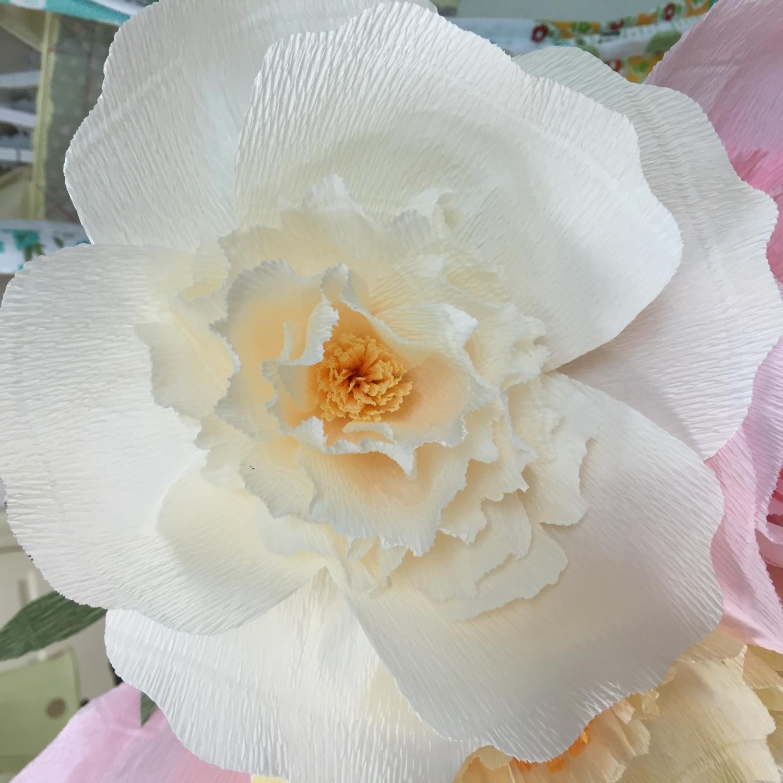 White Italian Crepe Paper Flower