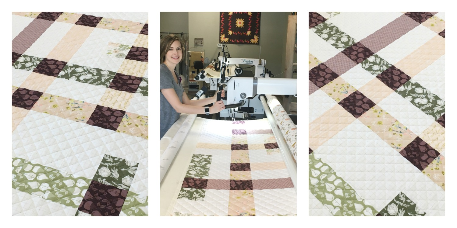 Harvest Quilt, made from Bonnie Christine's newest line,   Gathered  , for Art Gallery Fabrics. Quilted by Andrea Walker (center) of Walker Quilt Co.