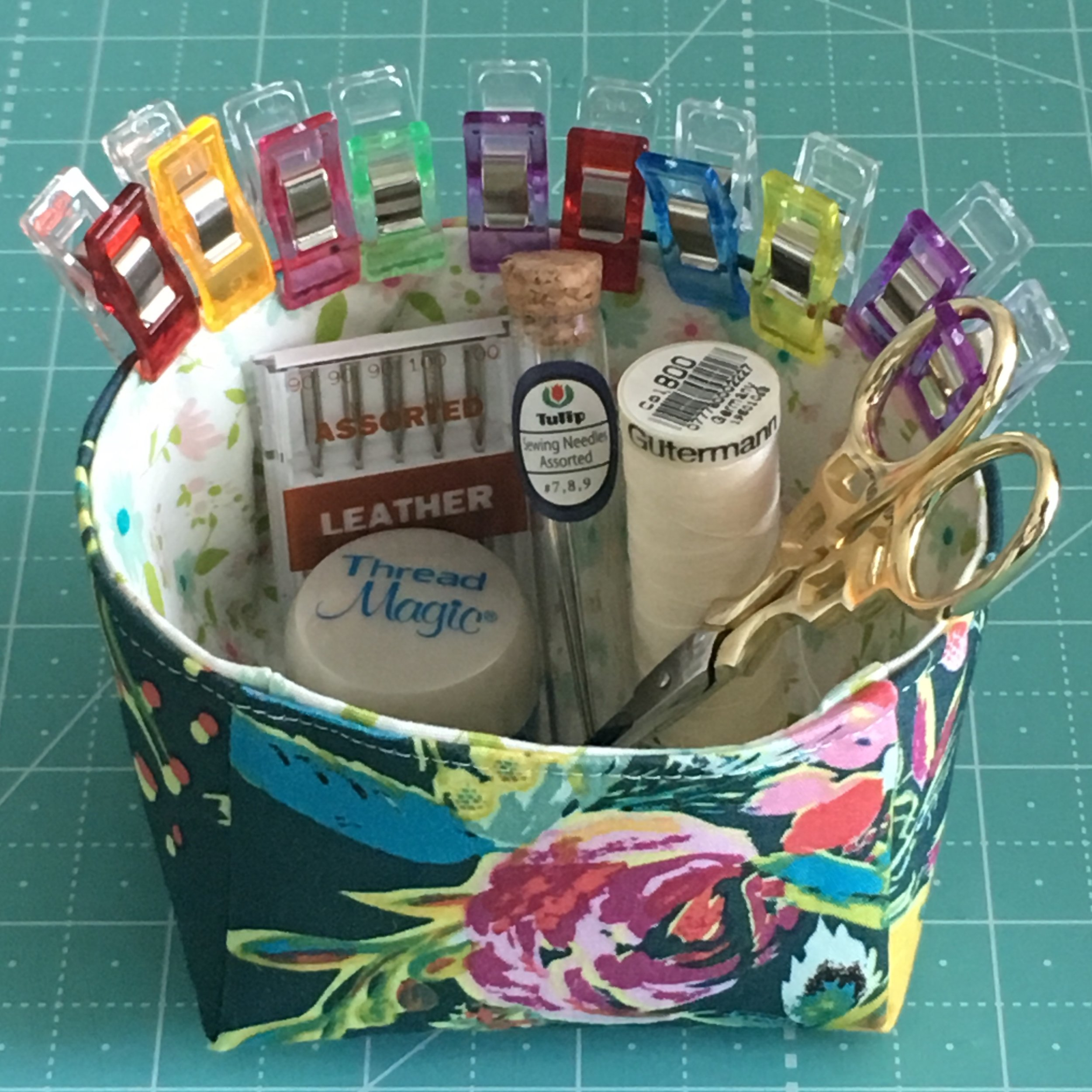 Small Organizer Hold it Bin, shown in Bari J fabrics.