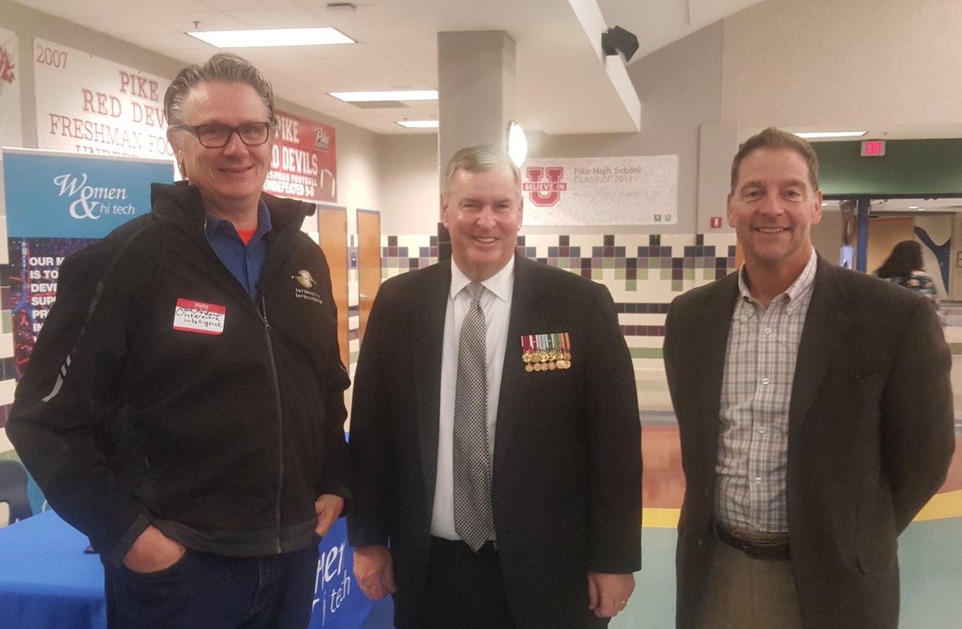 Joe Hand of Interactive Intelligence, former Mayor Greg Ballard, and Warren Lenard of Finish Line were three of the panelists.