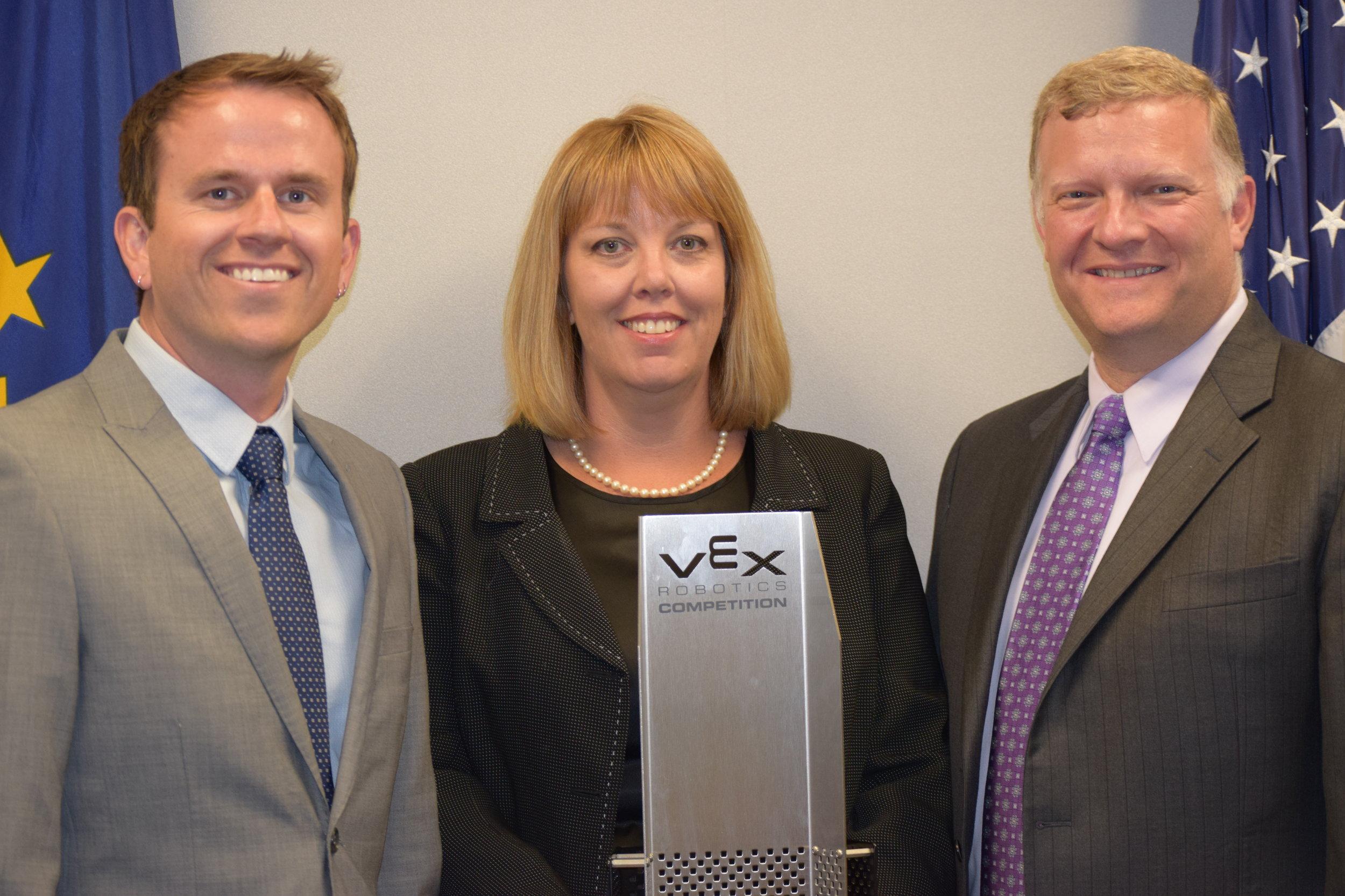 State Director of Robotics George Giltner, TPF4Y Executive Director Laura Dodds, and former DWD Associate COO, Dennis Wimer