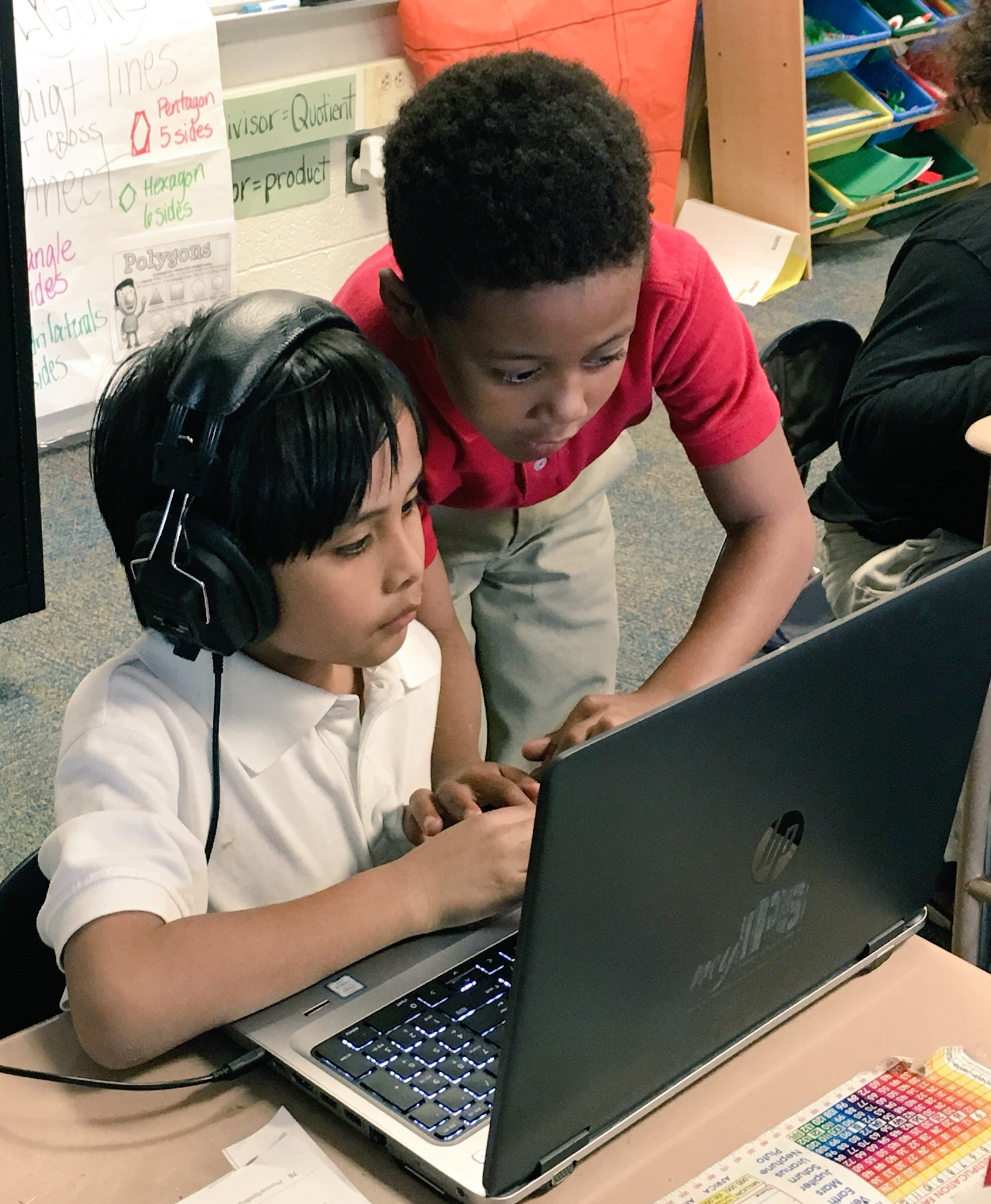 Students work together on an Hour of Code activity.