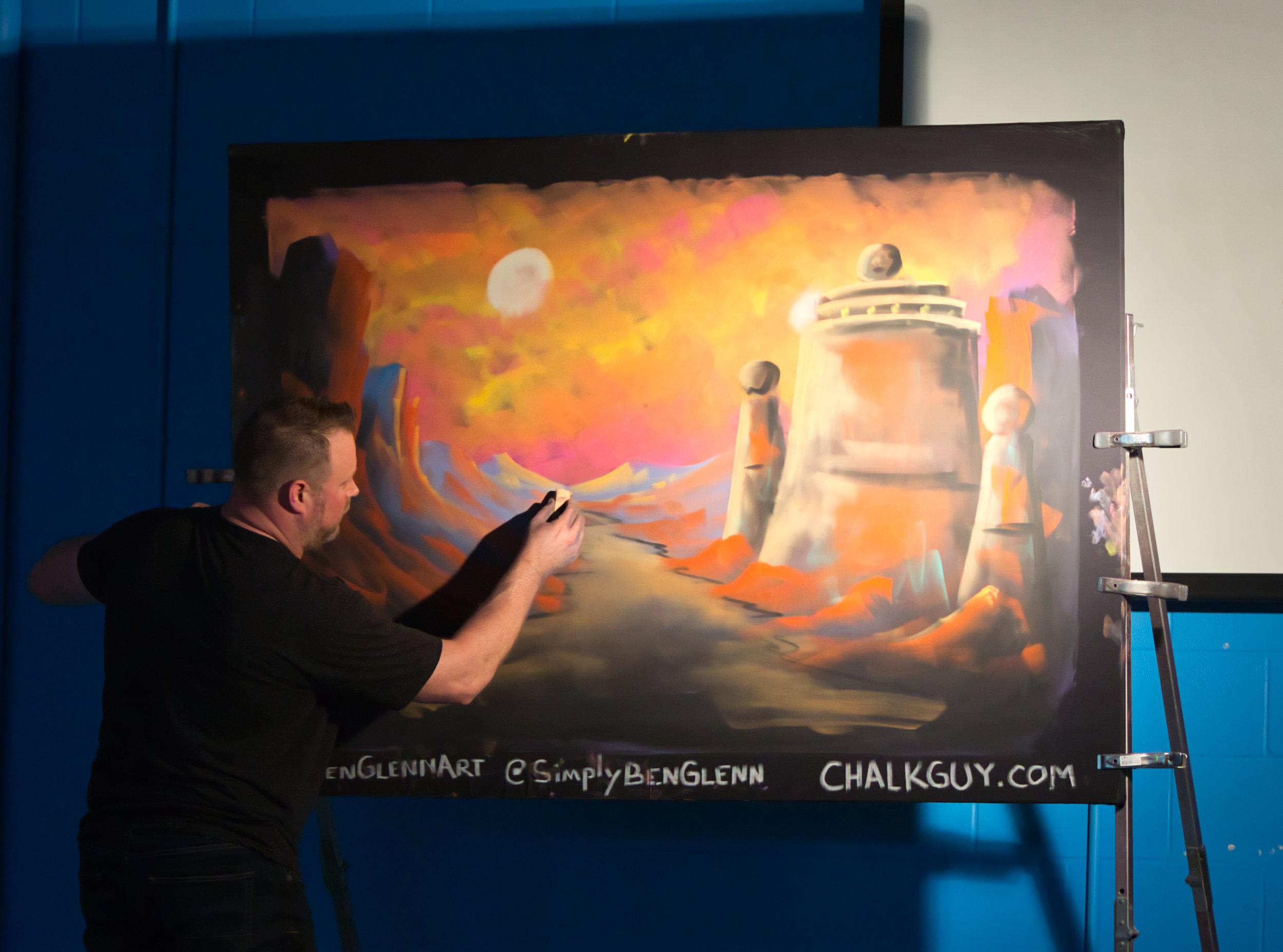 Ben Glenn working on his Star Wars chalk art
