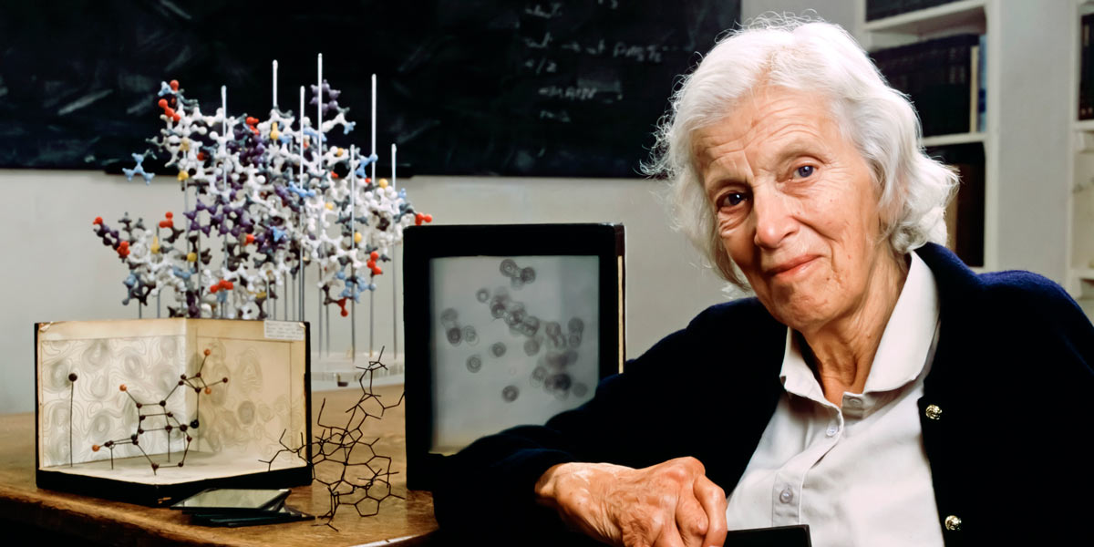 Dorothy Hodgkin was a British chemist who developed protein crystallography, for which she won the Nobel Prize in Chemistry in 1964. Her research led to the discovery of the structure of penicillin, vitamin B12 & insulin. (photo: Royal Society of Chemistry)