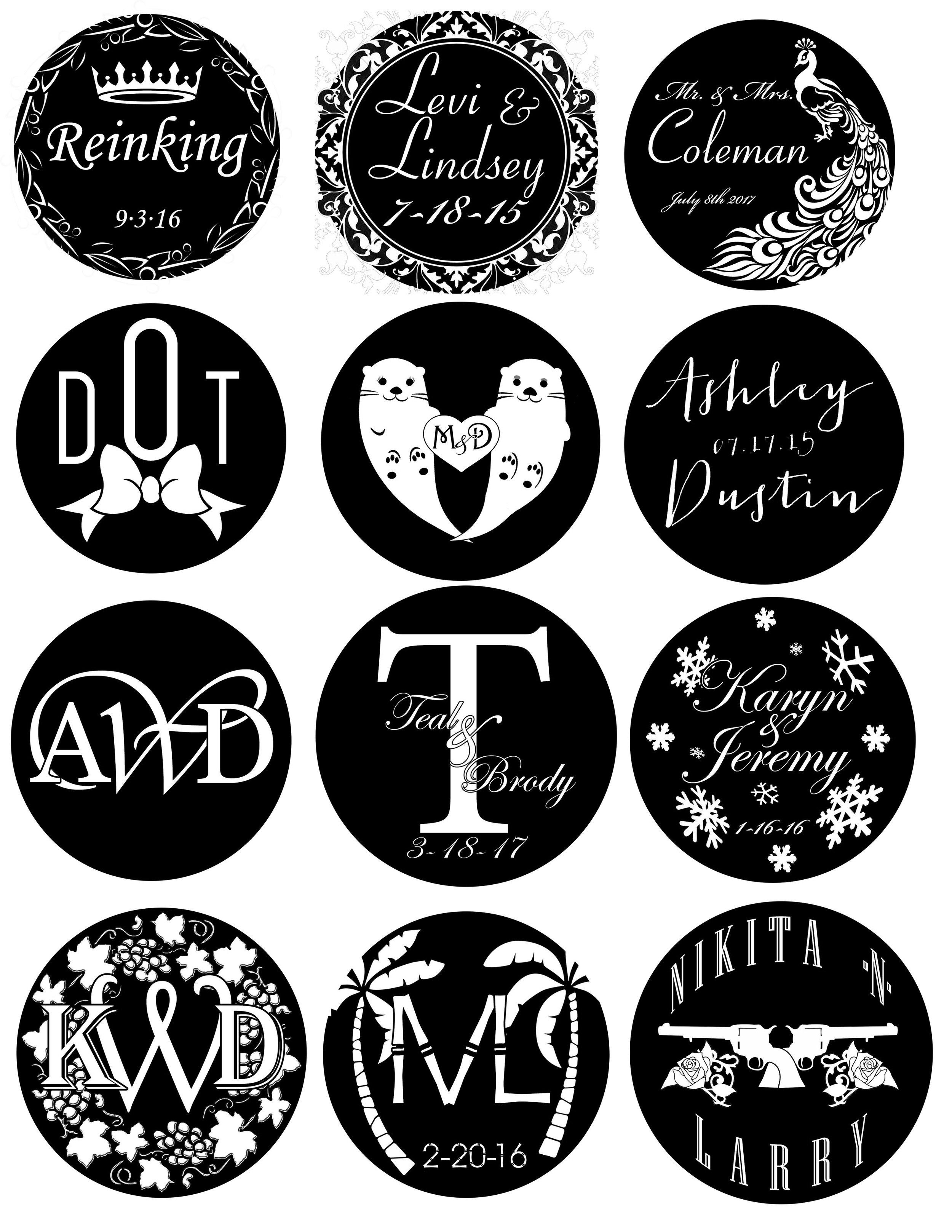 Examples of monogram designs.