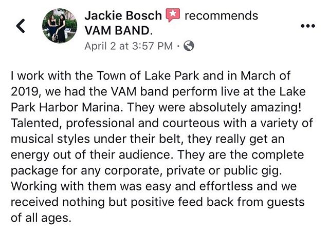 🌟 Sharing a 5 star review we received from the town of Lake Park about our March @VAM.Band performance, and they've already invited us back for later this year! #VAMbandLive #VAMbandReview