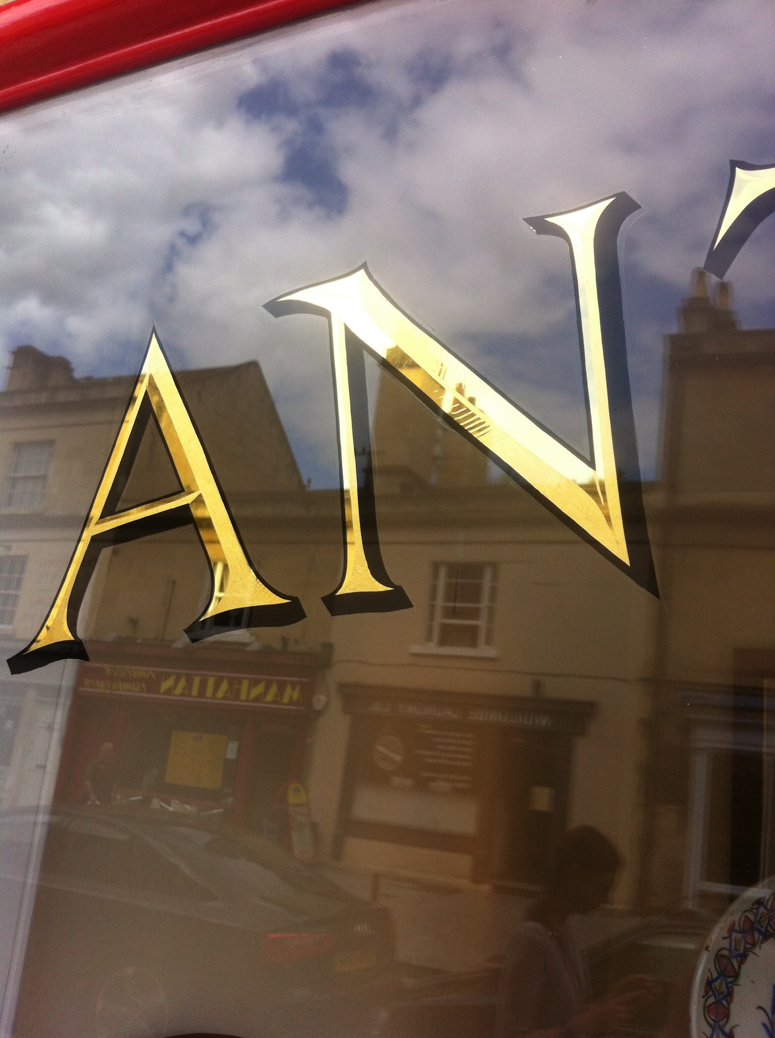 Florence and Roman Bath inspired design. Two tone 23ct Gold leaf, glass window sign