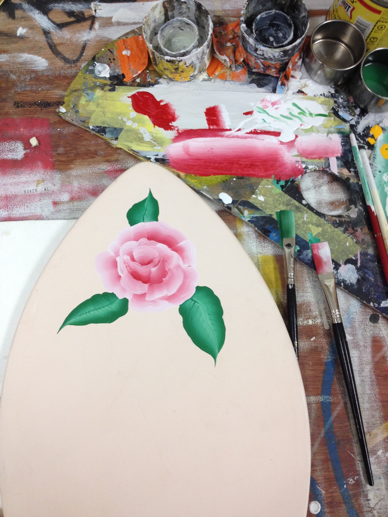 Traditional folk painted rose.