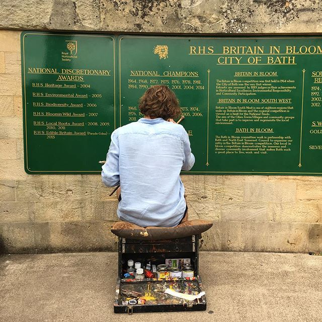 Added some years to Baths Britain in Bloom honours board in Parade Gardens. Painted in a type of Roman lettering unique to the previous painter. Tobias also polished the sign and touched up the background to its original glory.  #BritainInBloom #Traditional #RomanLettering #BathInBloom #GreenAndGold #ParadeGardens #Bath #SignWriter #SignPainter #SignPainting