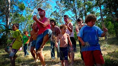 Jeremy running a dance workshop with children at the Nayri Niari Festival, Bruny Island Tasmania
