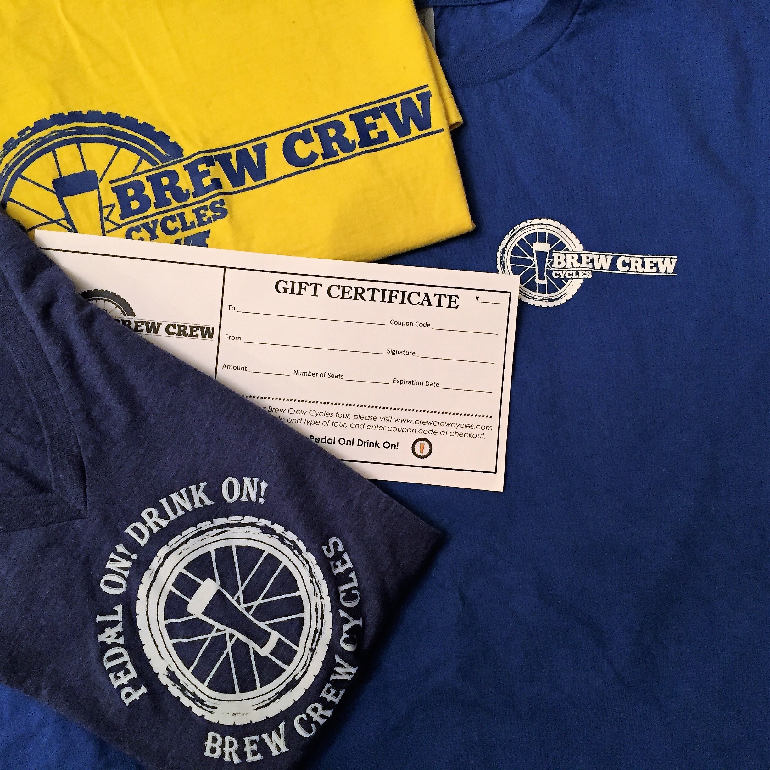 T-Shirt Package for Two: $110 - Two reservations on Brew Crew Cycles tour and two t-shirts is the perfect gift for any craft beer lovers!