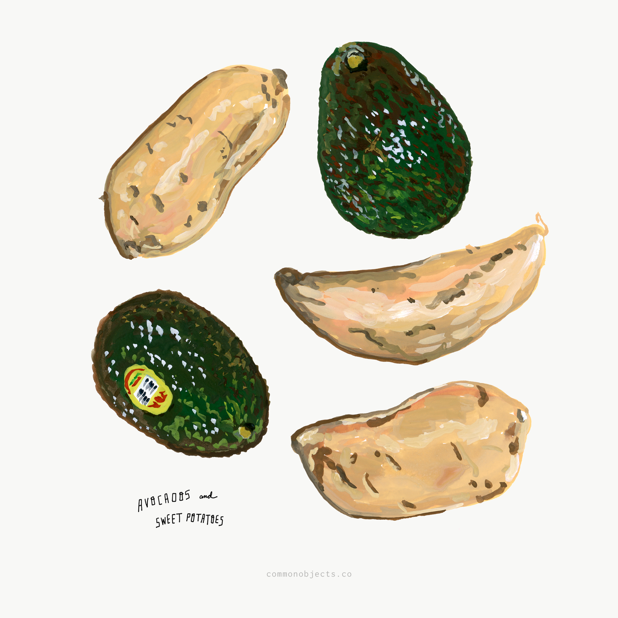 avocados and sweet potatoes