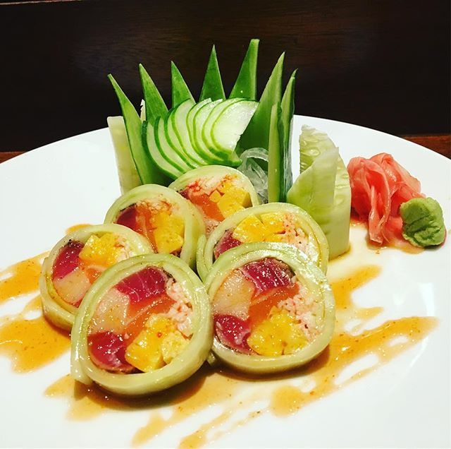 New item from Chef Andrie's new sushi menu is avaible now! Come try The Godfather Roll; tuna, crab salad, yellow tail, salmon, tamago, and mango in cucumber wrap. #littlerock#sushilover#awlinsasiancuisine#sushirolls
