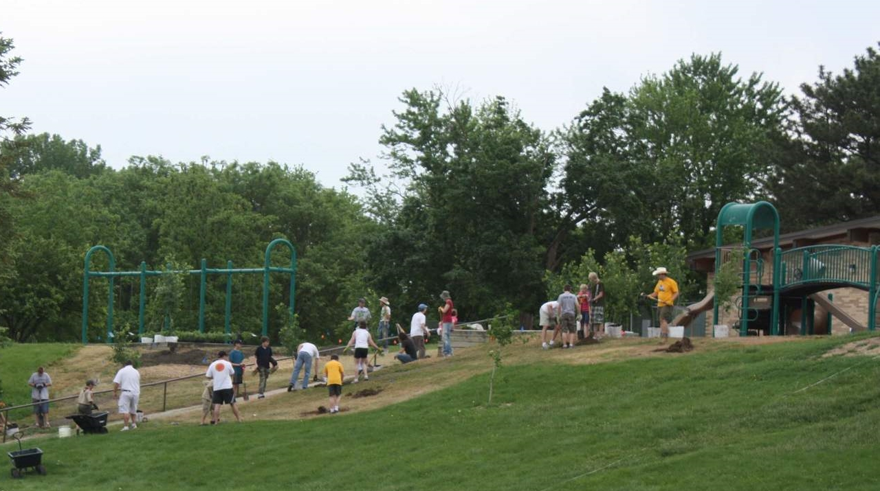 The community of neighbors, Boys Scouts and our elementary school improve our park.