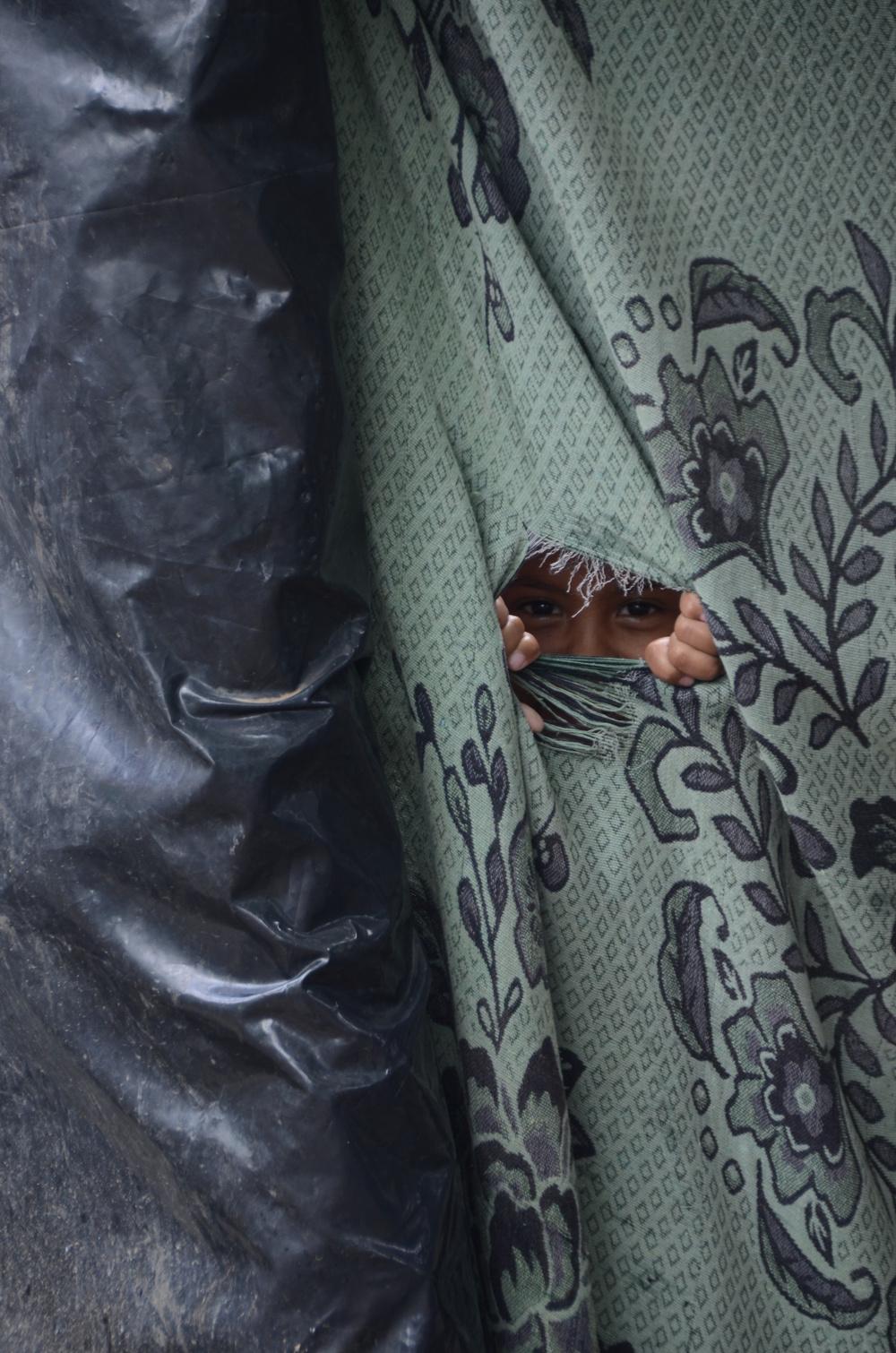 Tamara mira por un agujero en la cortina de baño de la familia (2012). Foto de Elizabeth Kay.