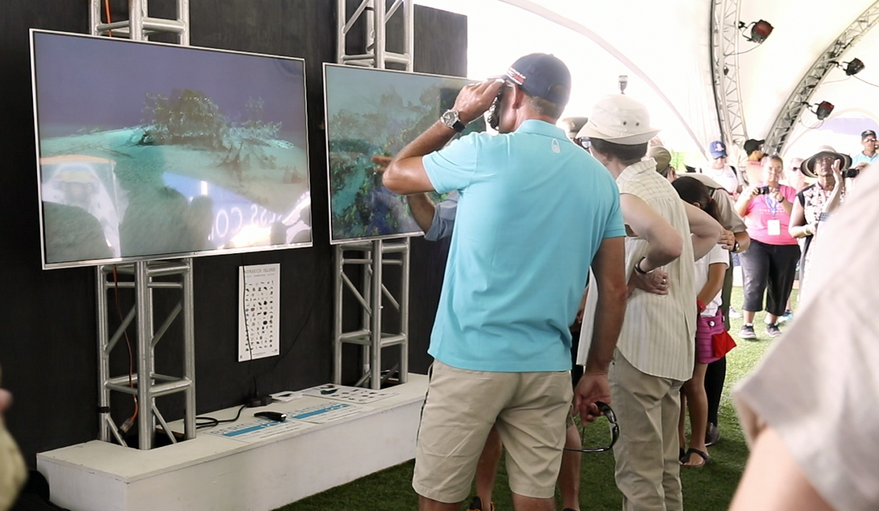 HRH Princess Anne and Sir Roussel Coutes preview Bermuda100 3D Shipwreck Project in the America's Cup Village
