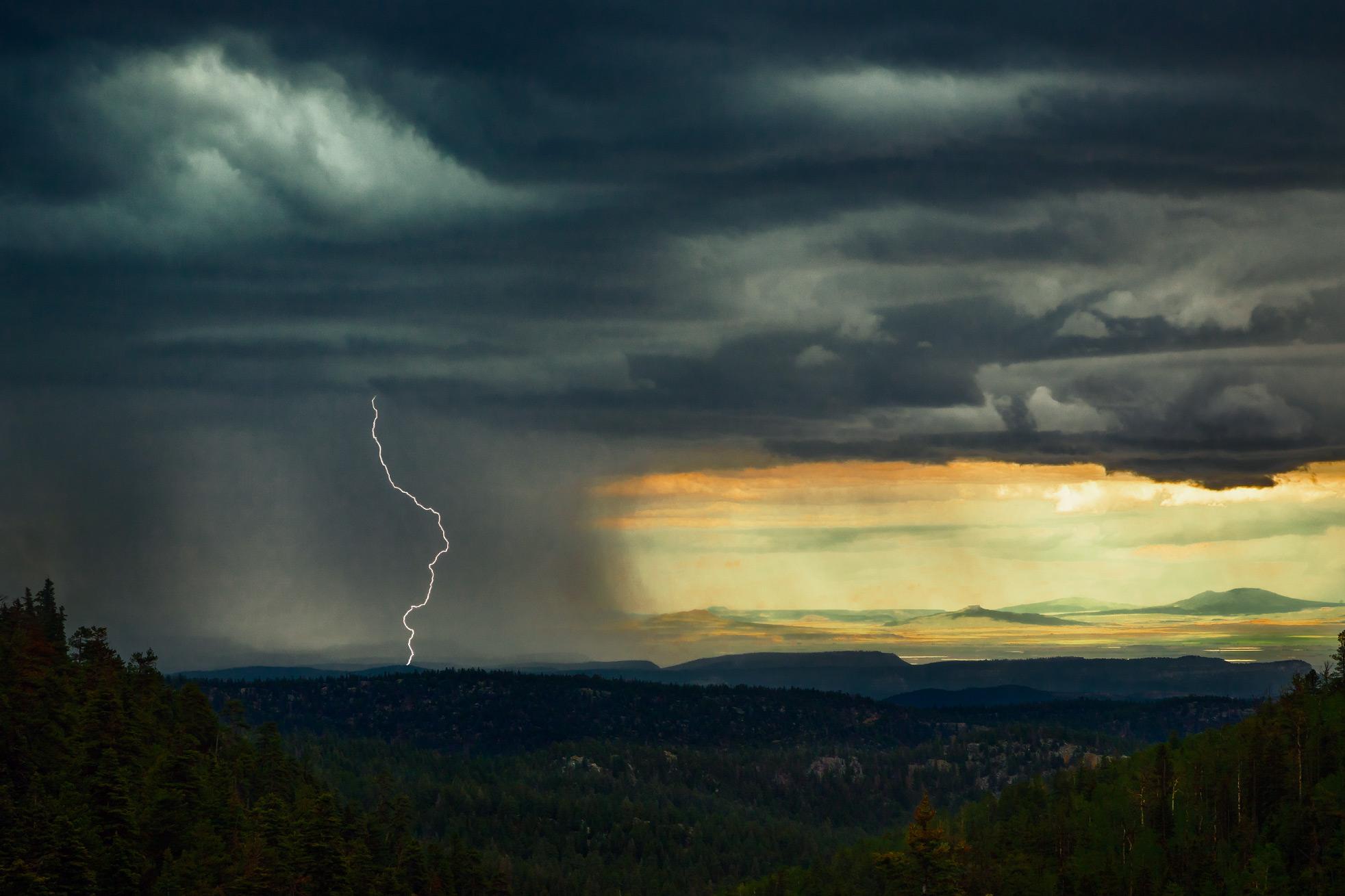 Lightening Strike Over Deer Lake Mesa