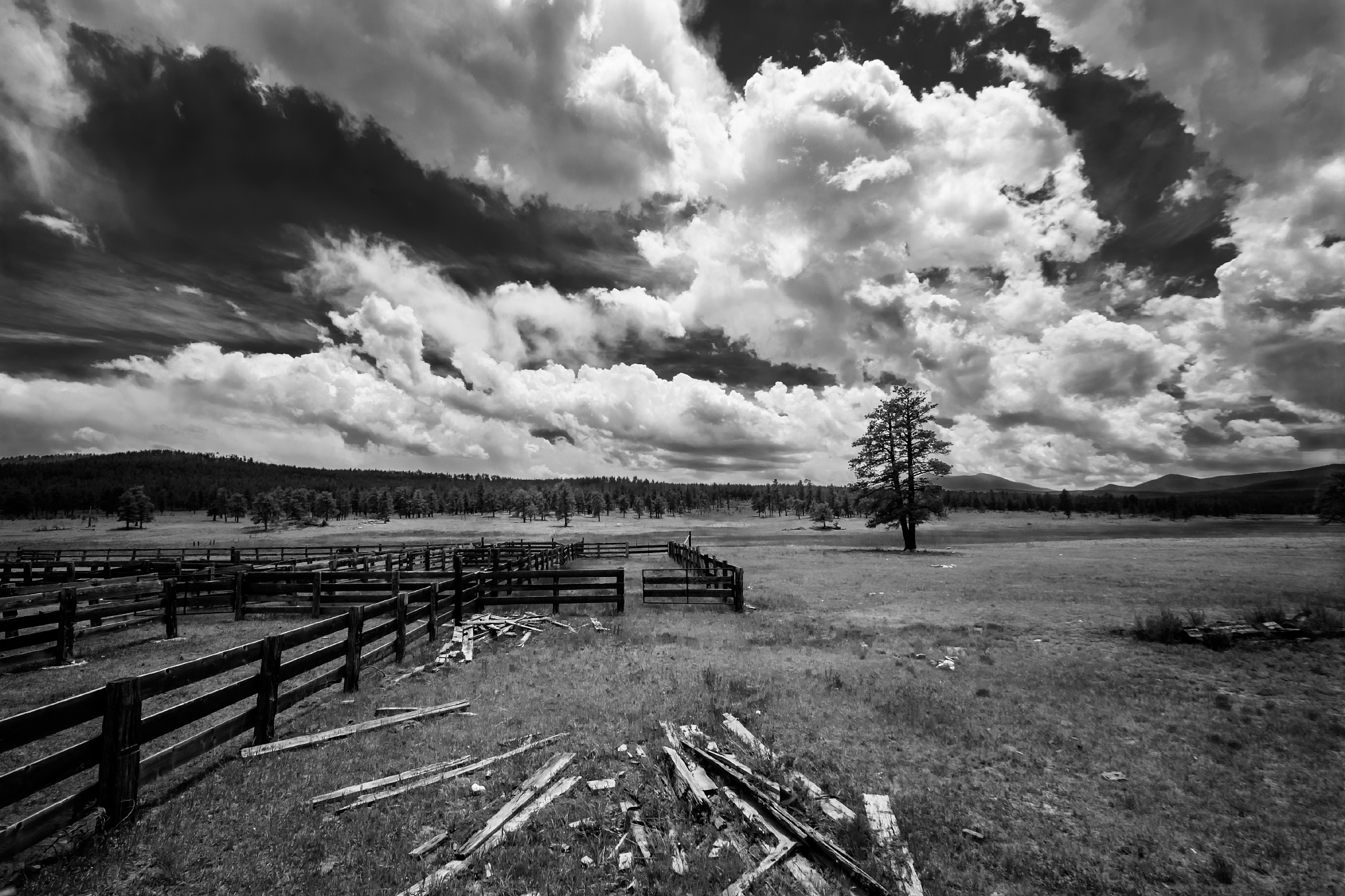 Ring Place black and white clouds, Valle Vidal, Philmont Scout Ranch, New Mexico; 2012
