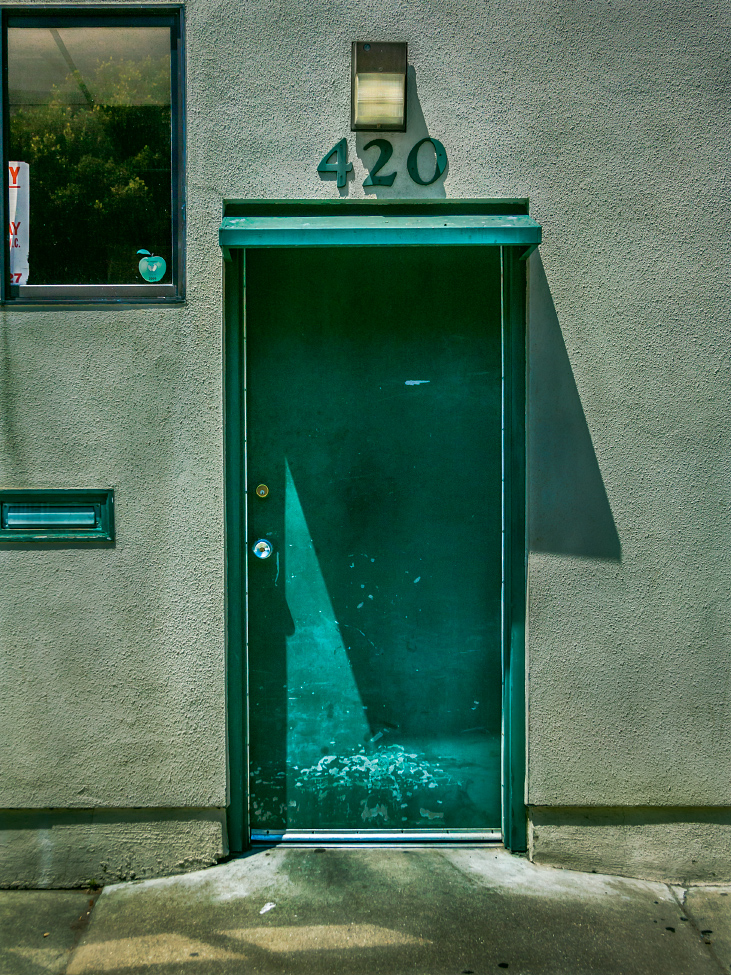 |#4|  Persian Green   Ste. 420 with steel-toe boot scrapes. Grimy stucco and elevated threshold. - Happy Easter; praise it!