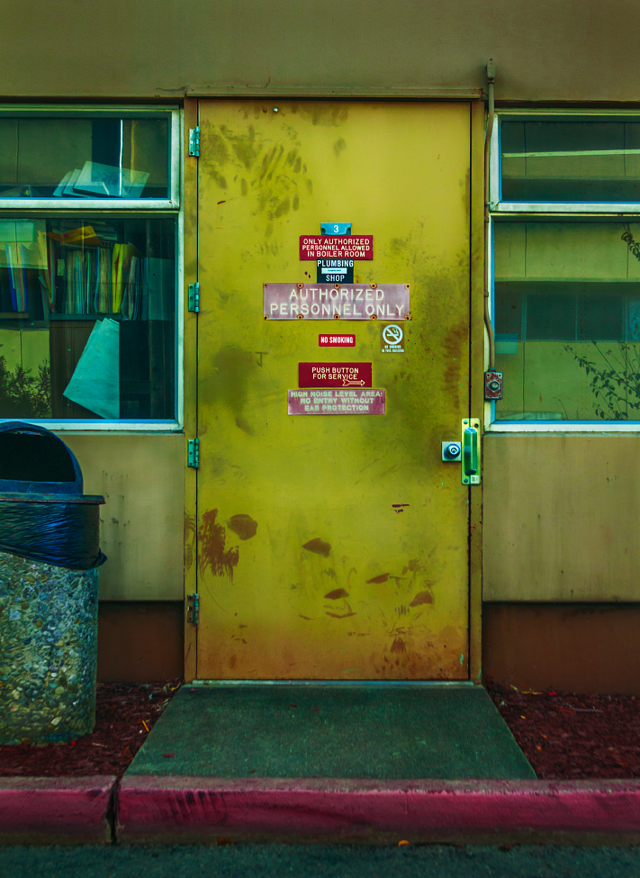 |#14|  Pistachio   In between the redwood bark and aggregate trashcan, a mysterious mechanistic portal to the unknown. Dare to ring the door bell? Only the authorized may enter.