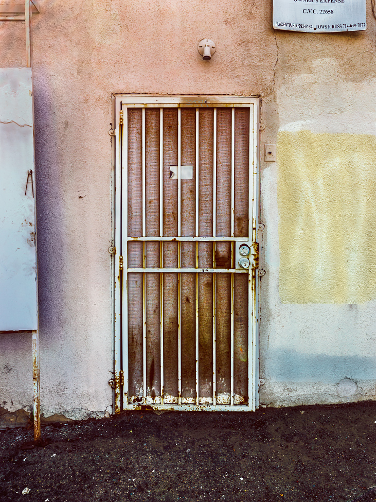 |#23|  Mountbatten Pink   Beaten and bruised gate, severely rusted. Coarse, crumbling asphalt breaks down from the hot sun. A truly nasty Neapolitan.