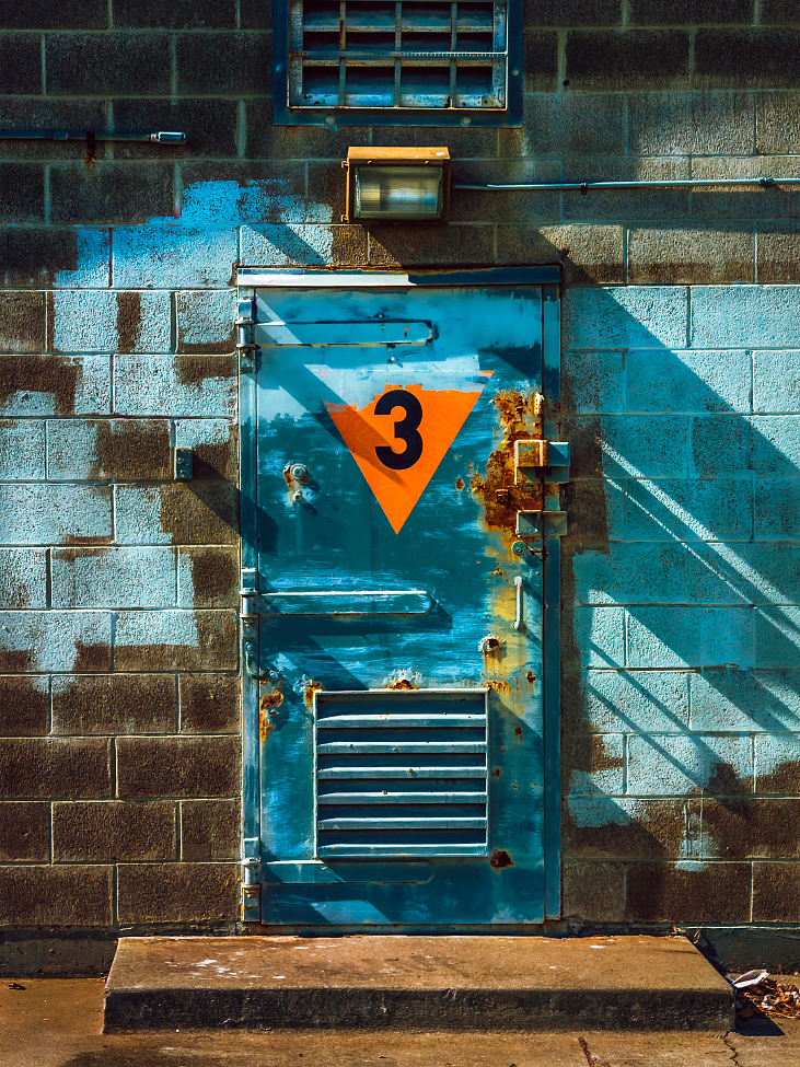 |#27|  Sherpa Blue   Painted patchwork with steep, scathing shadows. Heavy steel thick with corrosion, molded by constant sea winds. Proper ventilation for causes unknown.