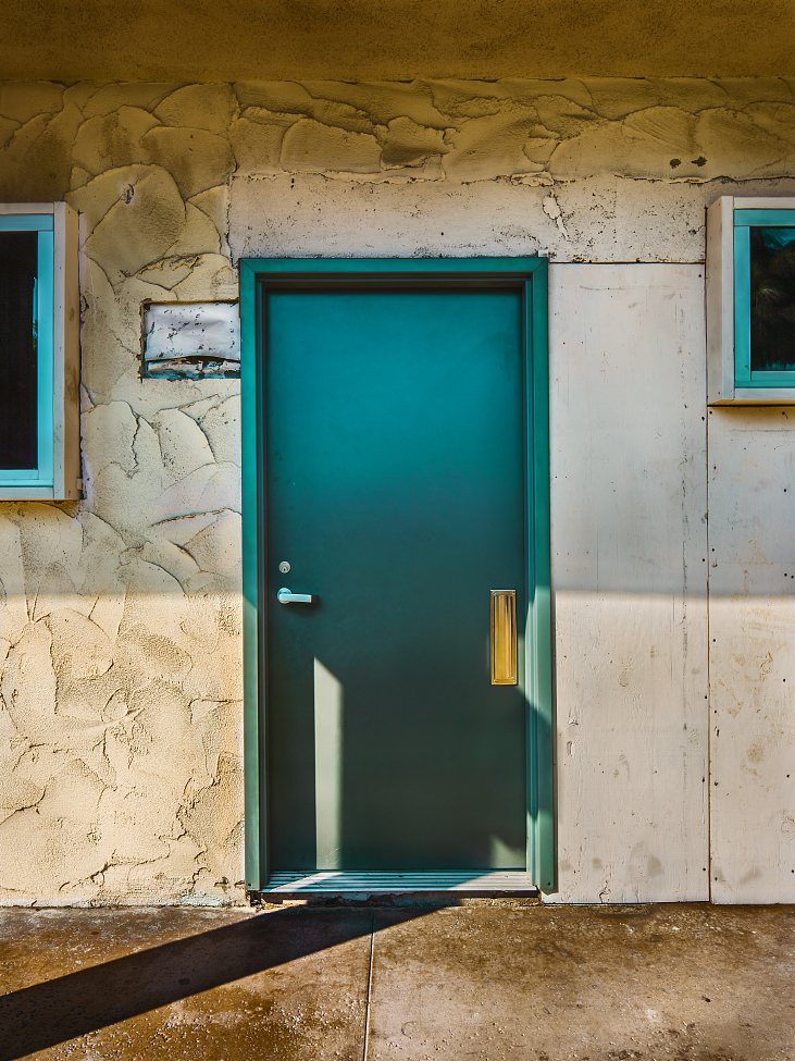 |#35| Teal  A perfect shade of Windows 95. Vertical mail slot, water-stained concentrate, and scalloped potato stucco. Looks like someone has already cut out their favorite piece.