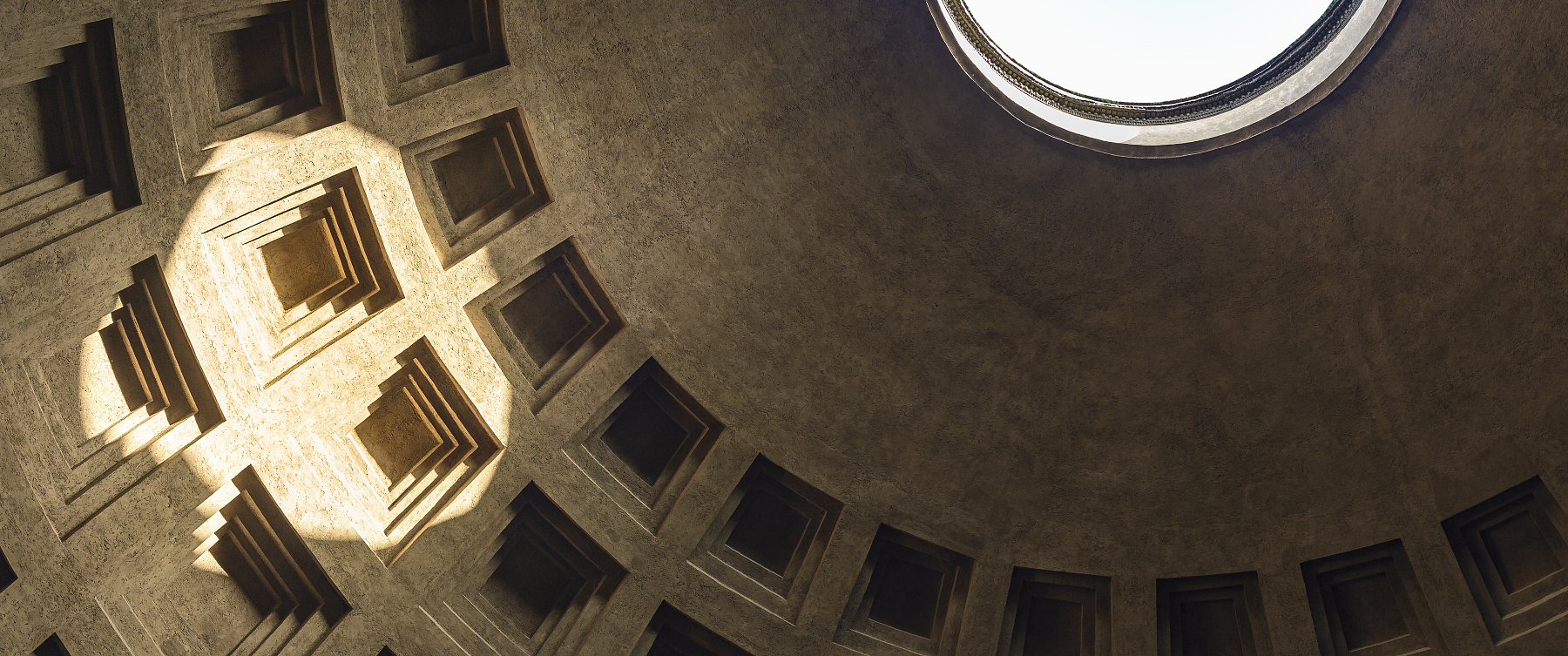 Late-afternoon sunlight in the Pantheon.