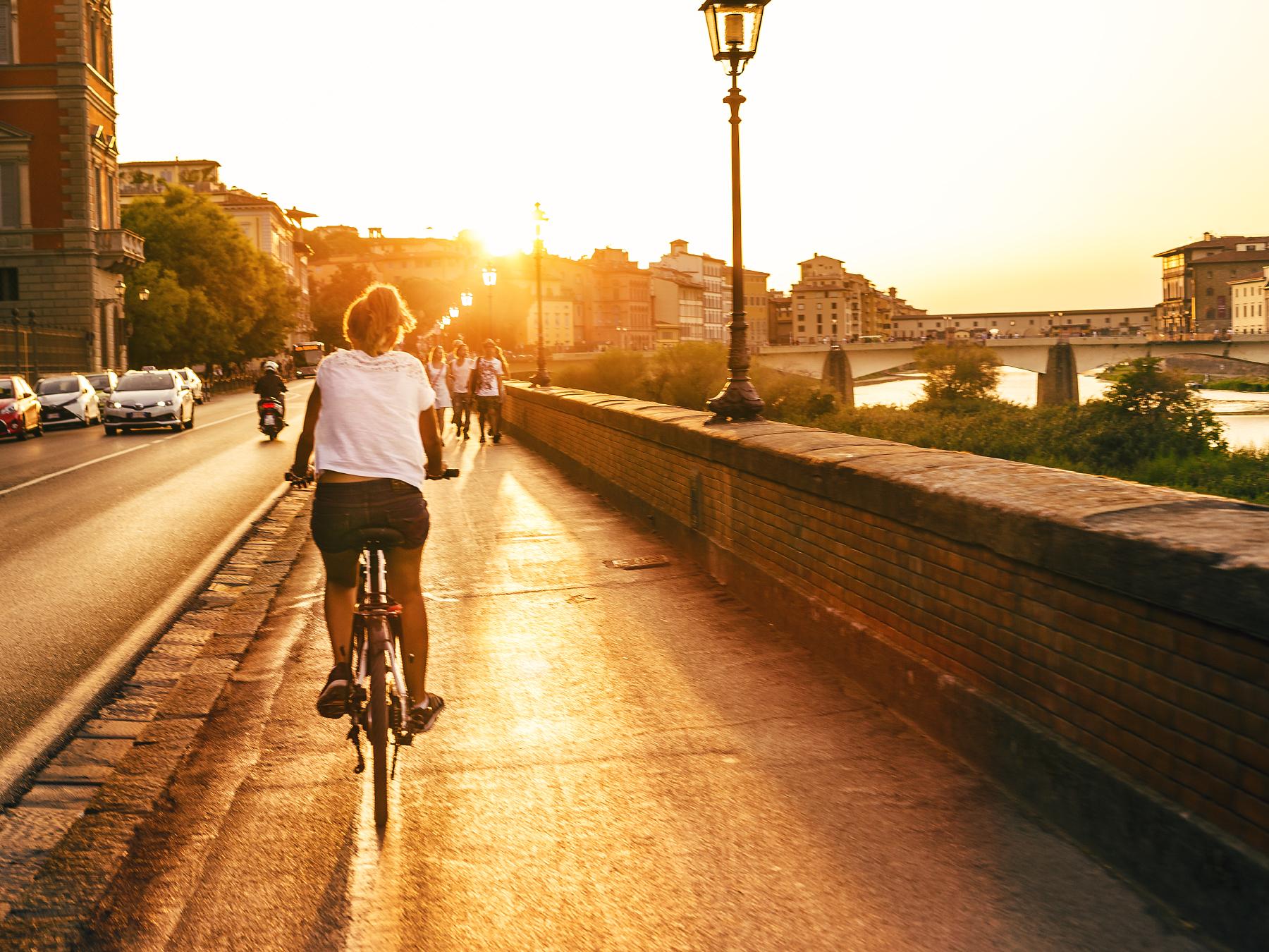 Biking along the Arno.