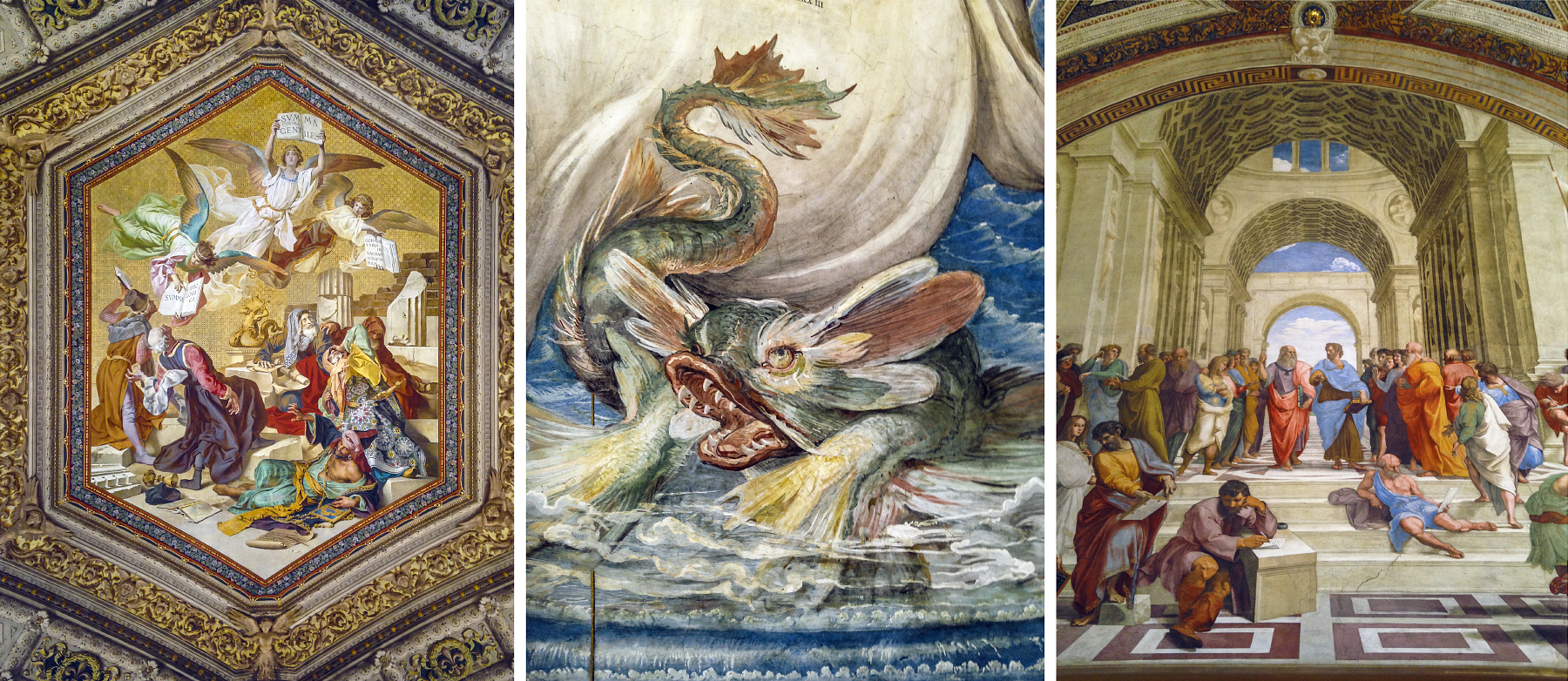 """Vatican artworks and frescos. Most importantly far right; """"The School of Athens"""", by Raphael."""