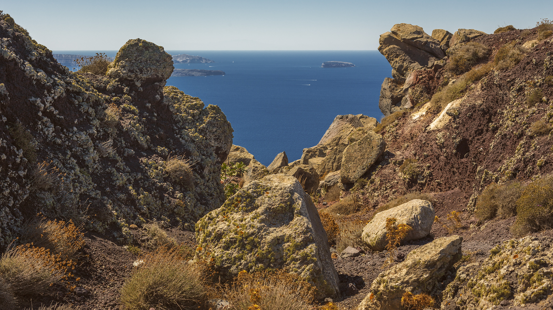 Typical landscape found in the semi-arid climate of Santorini.