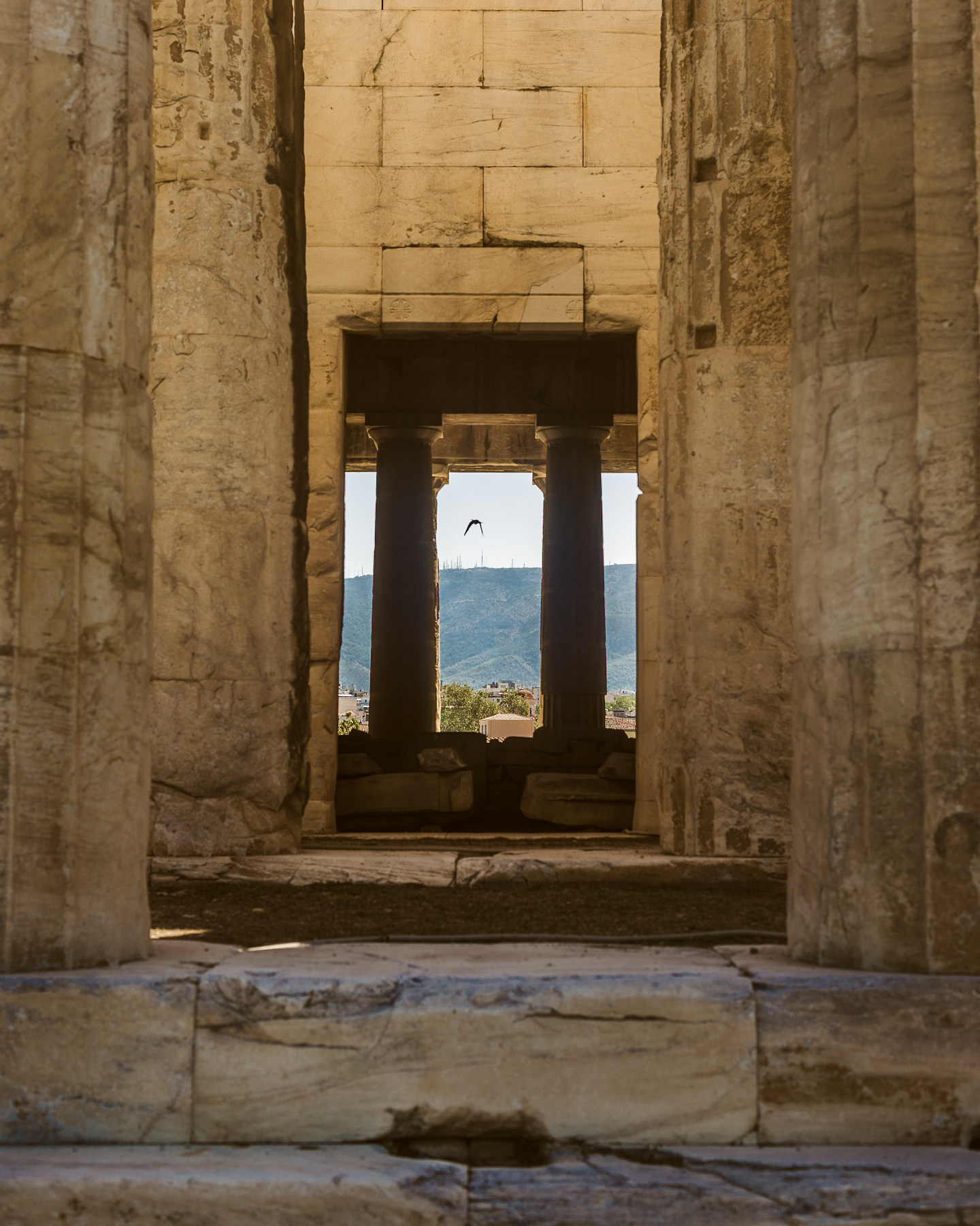 Looking through the  Temple of Hephaestus .