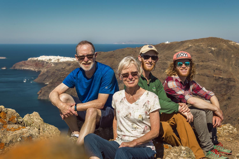 Steven, Amy, Justin, and Adam on the island of Santorini, Greece.