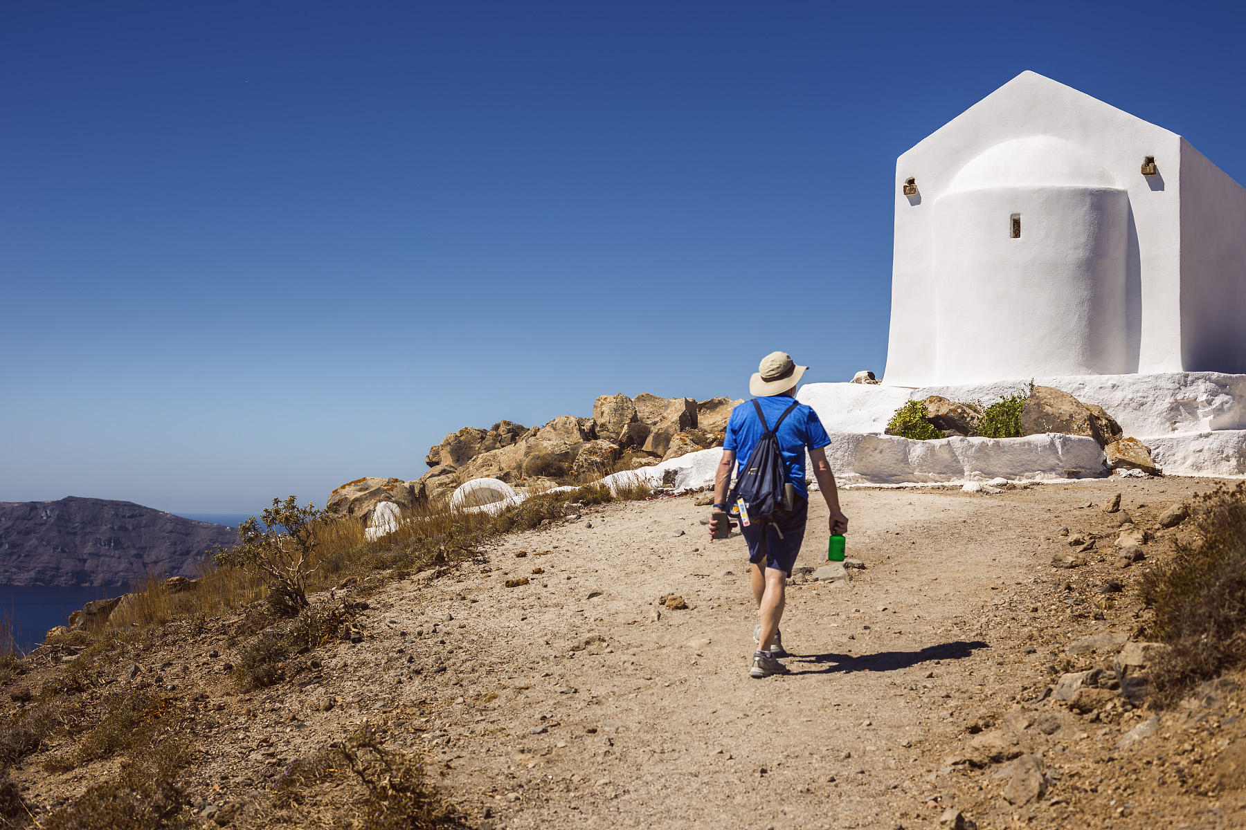 Steve hikes up to see the church of Panagia.