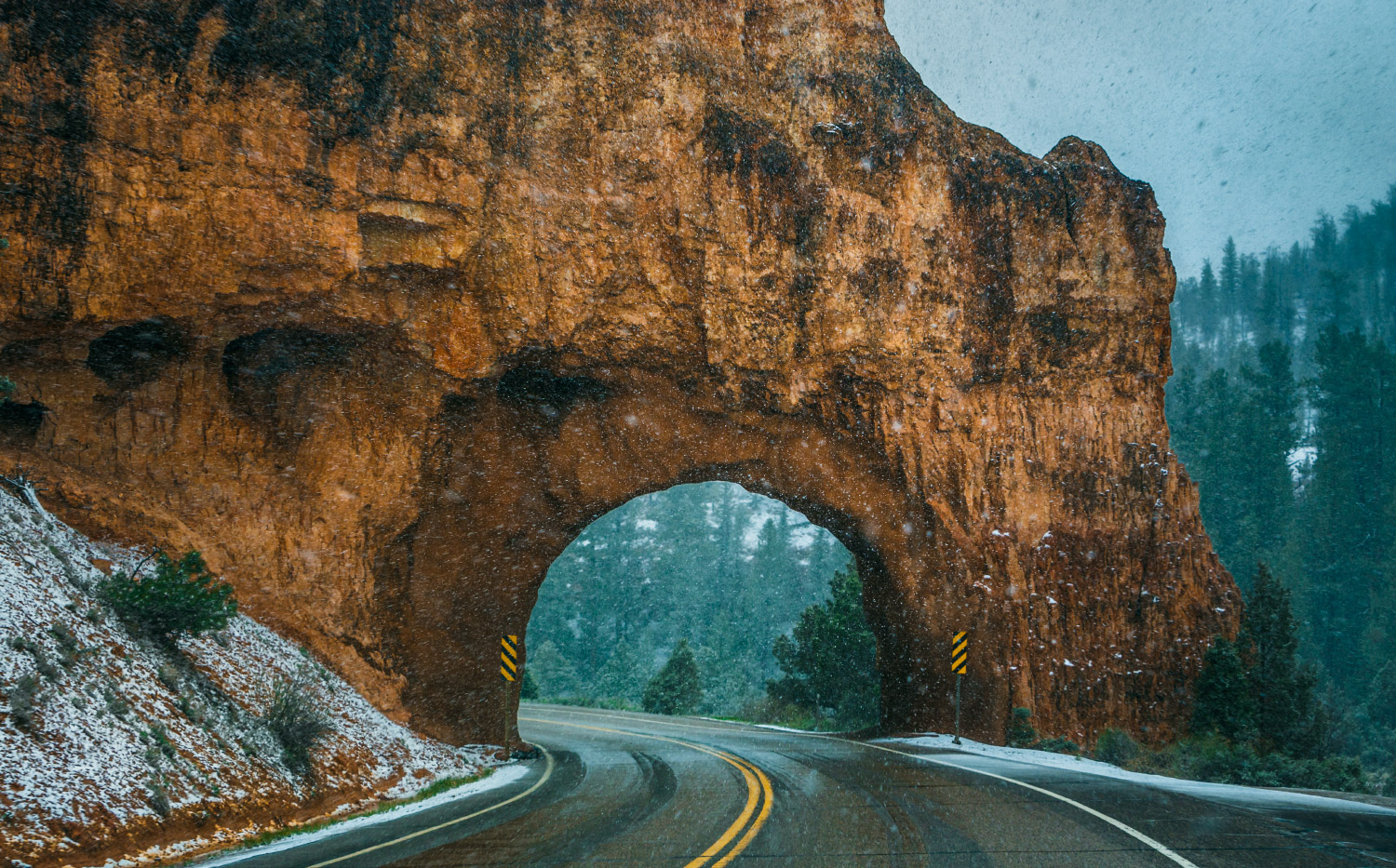 Snowy Red Canyon Arch, Utah; 2015.