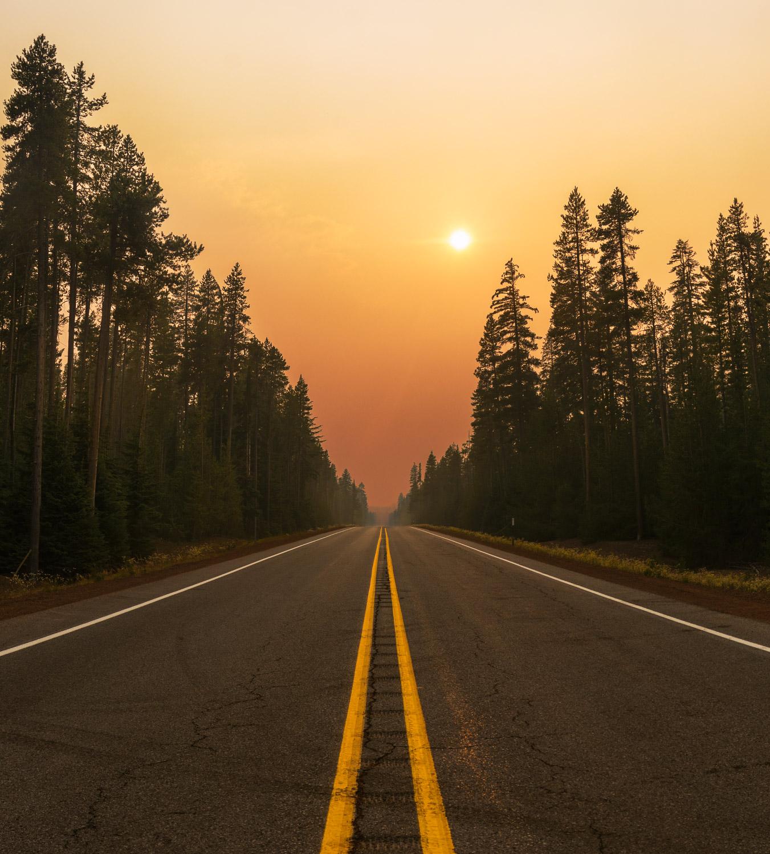 Smoky Sunset, Oregon State Highway 138, Crescent, Oregon; 2018.
