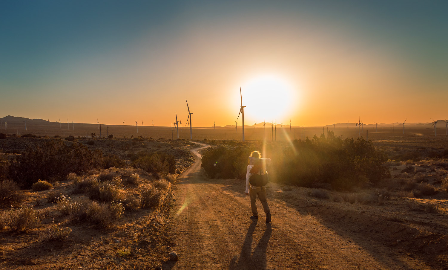 Sunset over California wind farm on the Pacific Crest Trail; 2018.