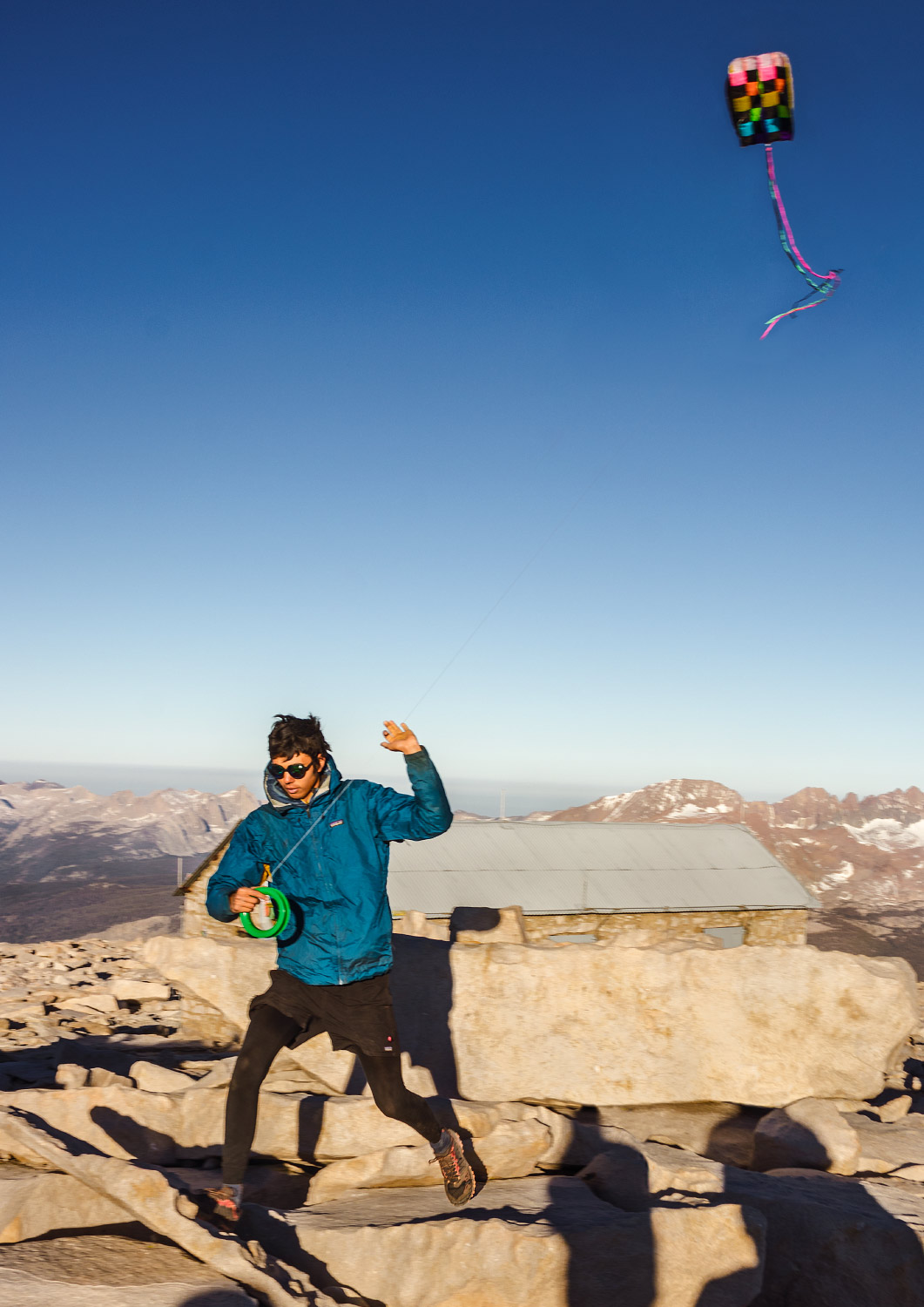 Kite-flying on the summit of Mount Whitney, Inyo, California; 2018.