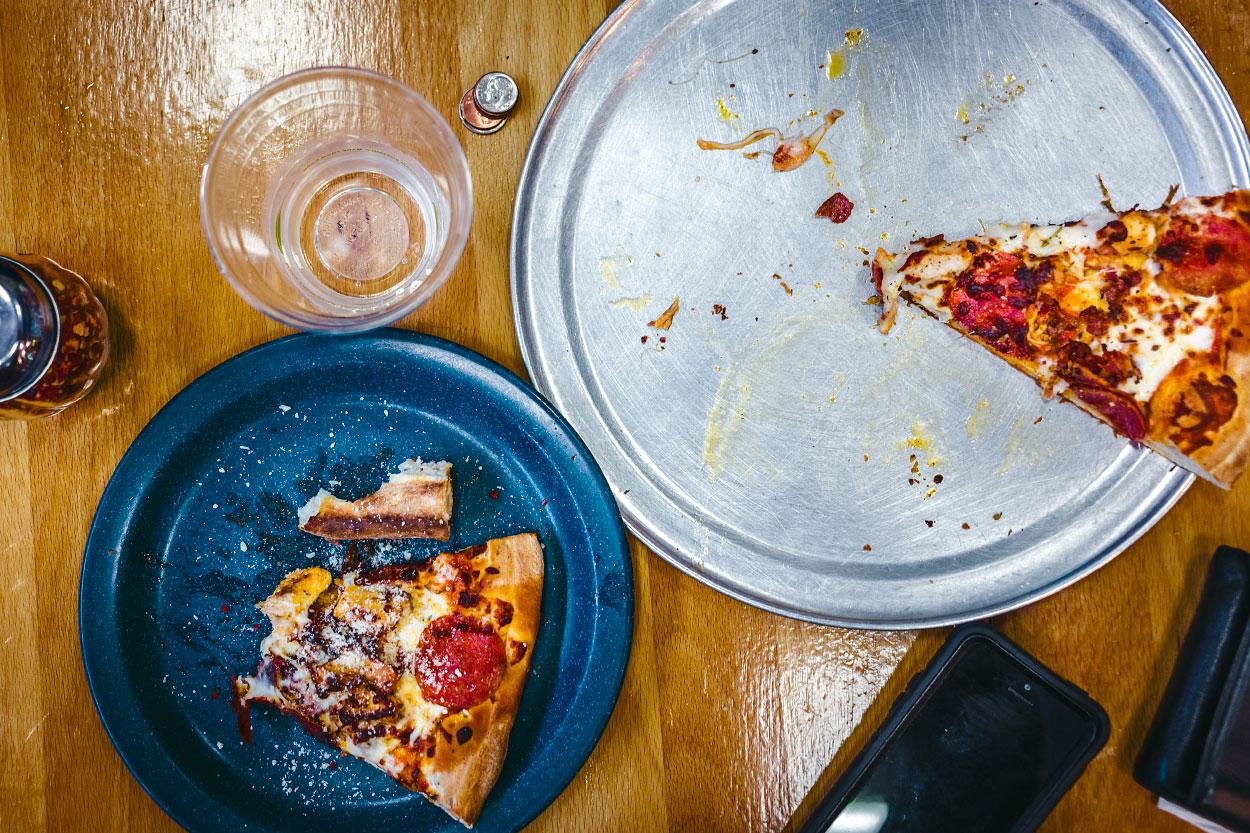 Pizza lunch on a table in San Louis Obispo, California.