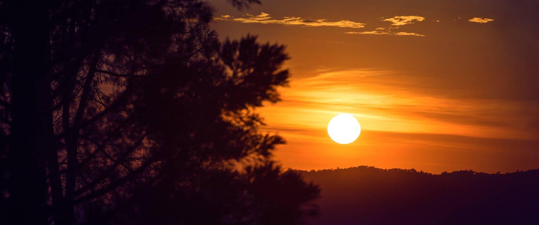 Hazy sunset landscape.