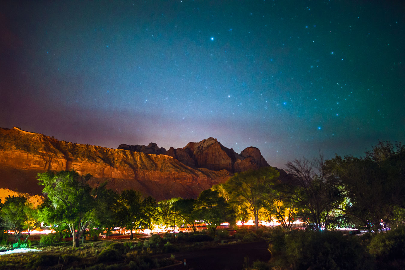 Watchman Campground at night.