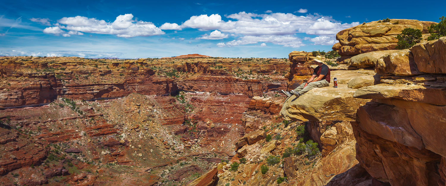 Carter Smith takes a moment to relax at Canyonlands National Park.