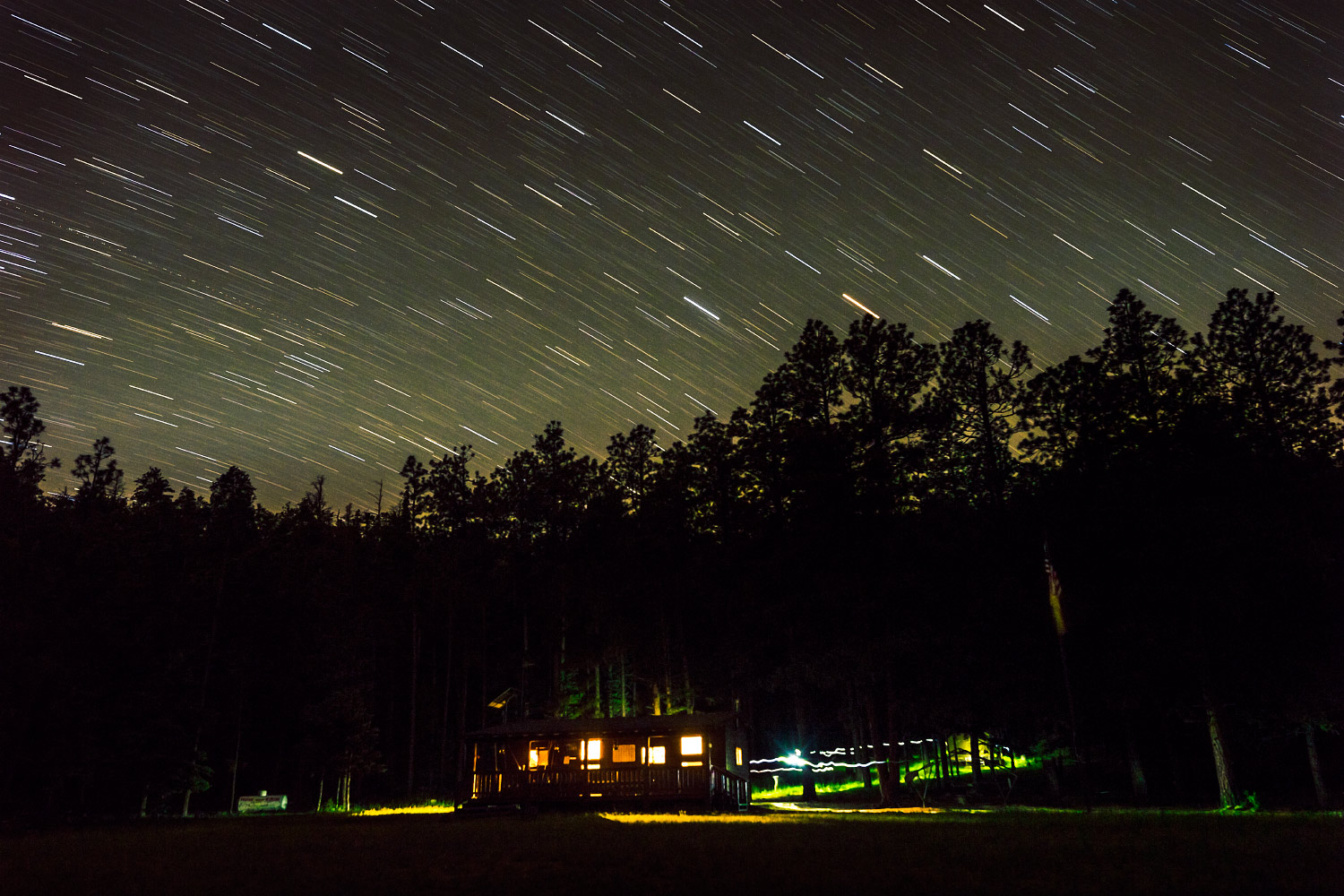 Urraca Cabin by star trail