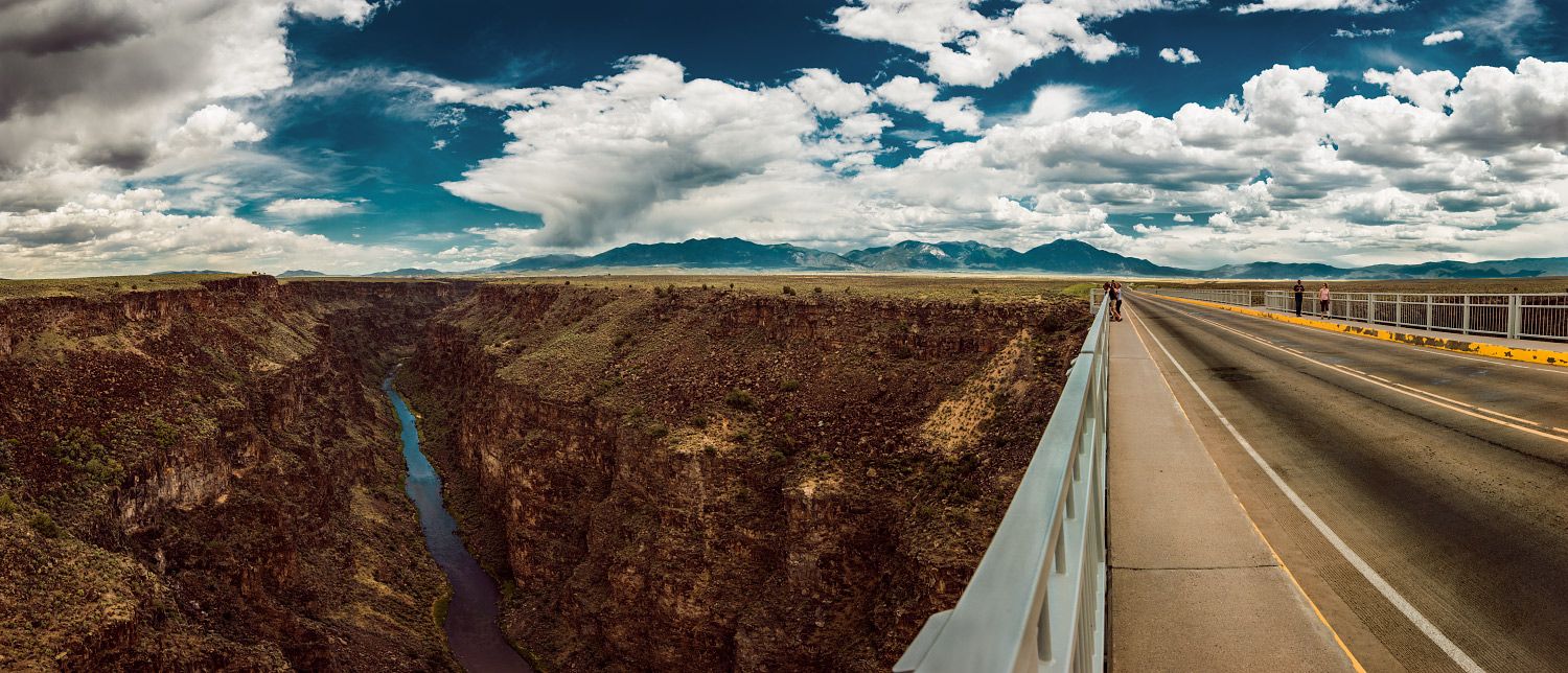 """Rio Grande River Gorge Bridge panorama. This moment is in my """"cool places I have stood"""" mental-database."""
