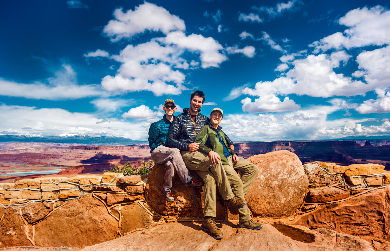 Justin Kernes, Carter Smith, and Caleb Jennings pose for a group photo at Dead Horse Point State Park, Utah.