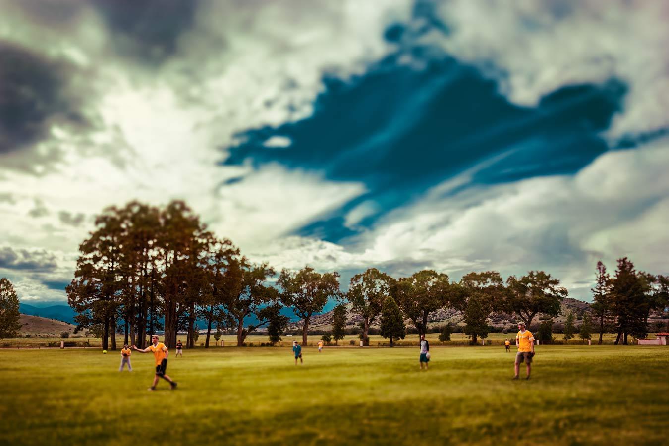 Villa Philmonte lawn baseball warmup